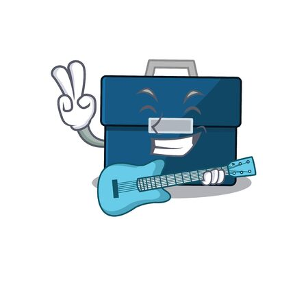 brilliant musician of business suitcase cartoon design playing music with a guitar