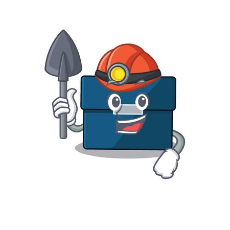 A cartoon picture of business suitcase miner with tool and helmet