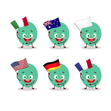 Green baloon cartoon character bring the flags of various countries