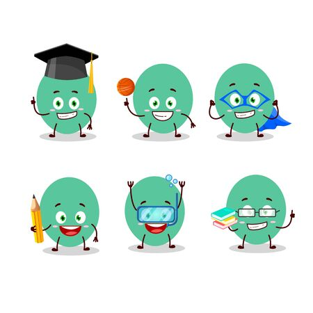 School student of green baloon cartoon character with various expressions