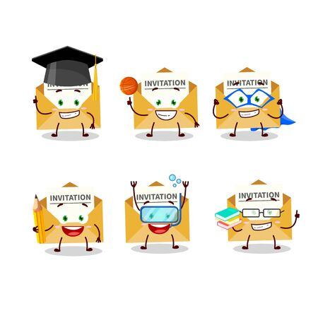School student of invitation message cartoon character with various expressions 向量圖像