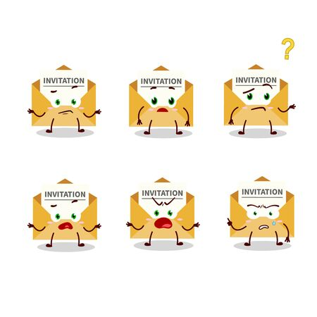 Cartoon character of invitation message with what expression