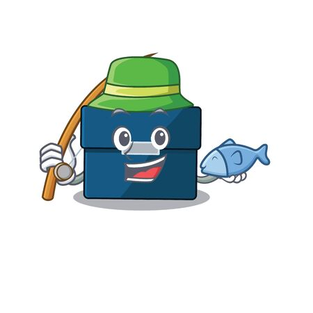 Cartoon design style of business suitcase goes to fishing. Vector illustration