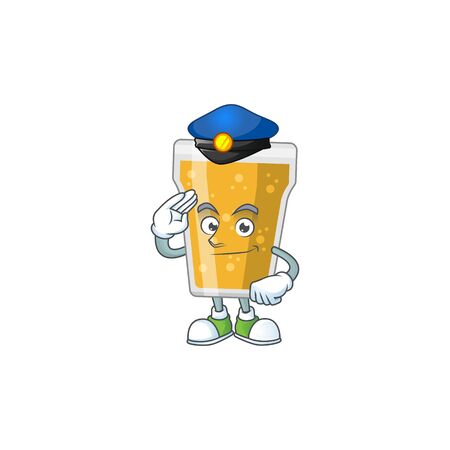 A dedicated Police officer of mug of beer cartoon drawing concept. Vector illustration Çizim