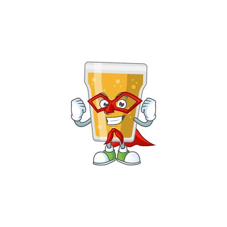 Mug of beer cartoon drawing concept performed as a Super hero. Vector illustration 向量圖像