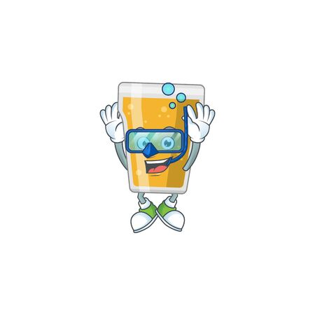 cartoon drawing concept of mug of beer wearing cool Diving glasses ready to swim. Vector illustration 版權商用圖片 - 147780346