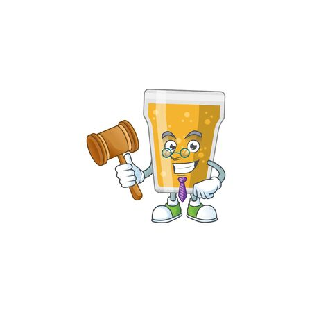 A wise Judge mug of beer cartoon mascot design wearing glasses. Vector illustration