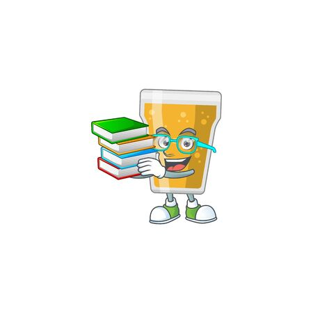 A mascot design of mug of beer student having books. Vector illustration