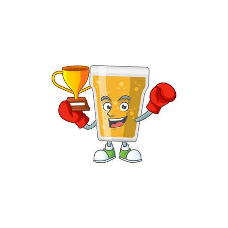Proudly face of boxing winner mug of beer cartoon character design. Vector illustration