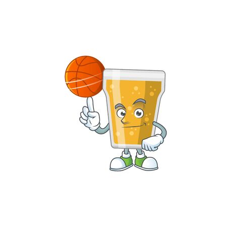 An sporty mug of beer mascot design style playing basketball on league. Vector illustration Illustration