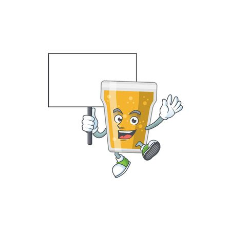 Cute mug of beer mascot design smiley with rise up a board. Vector illustration