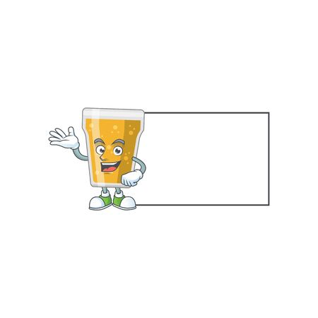 A caricature drawing of mug of beer with board. Vector illustration 矢量图像