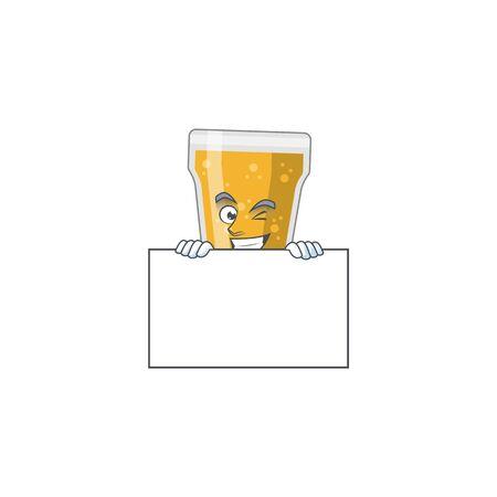 Mascot design style of mug of beer standing behind a board. Vector illustration 矢量图像