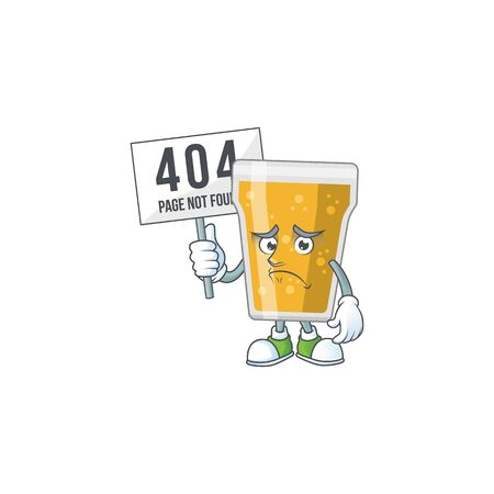 gloomy face of mug of beer cartoon character with 404 boards. Vector illustration