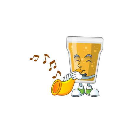 Talented musician of mug of beer mascot design playing music with a trumpet. Vector illustration