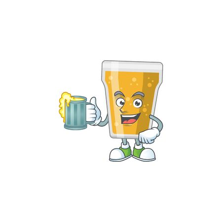 A cheerful mug of beer cartoon mascot style toast with a glass of beer. Vector illustration  イラスト・ベクター素材