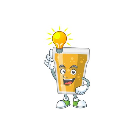 A brilliance mug of beer cartoon design concept have an idea. Vector illustration