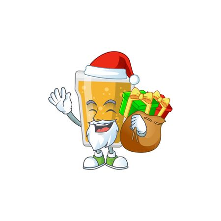 Santa mug of beer Cartoon drawing design with sacks of gifts. Vector illustration  イラスト・ベクター素材