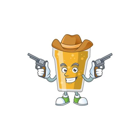 A masculine cowboy cartoon drawing of mug of beer holding guns. Vector illustration