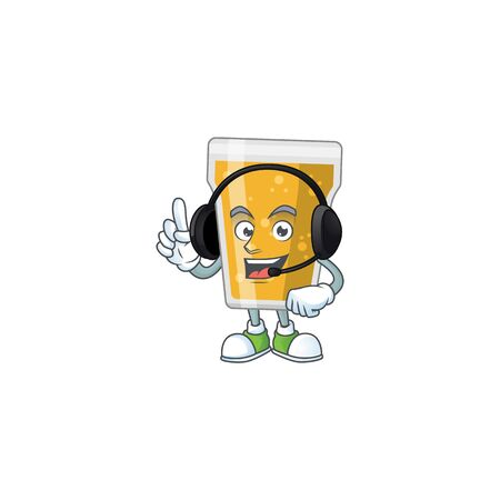 Mug of beer cartoon character style speaking with friends on headphone. Vector illustration