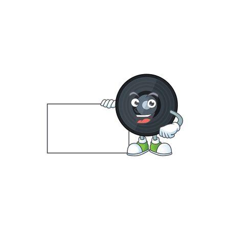 Music viynl disc cartoon drawing holding a white board. Vector illustration