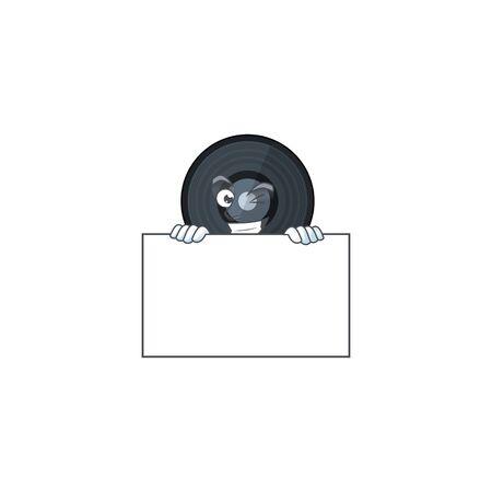 Mascot design style of music viynl disc standing behind a board. Vector illustration 矢量图像