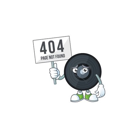 gloomy face of music vinyl disc cartoon character with 404 boards. Vector illustration
