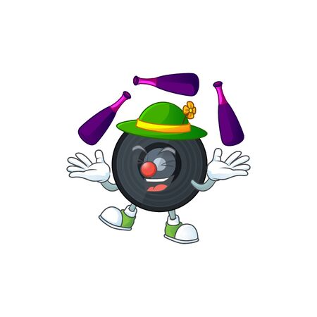 Music vinyl disc mascot cartoon design playing Juggling on circus. Vector illustration