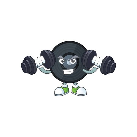 Caricature picture of music viynl disc exercising with barbells on gym. Vector illustration Ilustrace