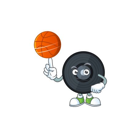 An sporty music vinyl disc mascot design style playing basketball on league. Vector illustration