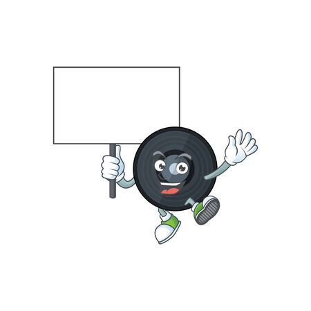 Cute music viynl disc mascot design smiley with rise up a board. Vector illustration