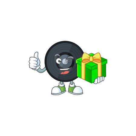 Happy smiley music vinyl disc cartoon mascot design with a gift box. Vector illustration