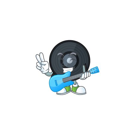 Music vinyl disc cartoon character style plays music with a guitar. Vector illustration
