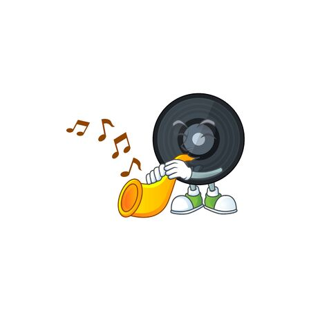 Talented musician of music vinyl disc mascot design playing music with a trumpet. Vector illustration