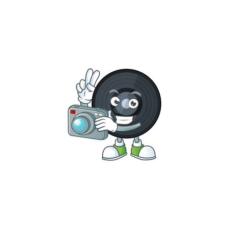 Music vinyl disc photographer mascot design taking a picture with a camera. Vector illustration