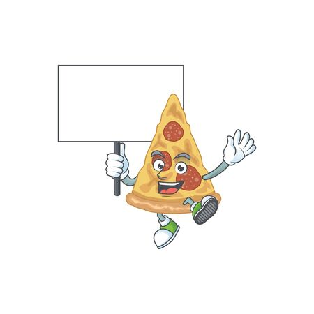 Cute slice of pizza mascot design smiley with rise up a board. Vector illustration