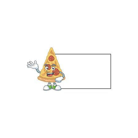 A caricature drawing of slice of pizza with board. Vector illustration