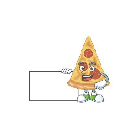 Slice of pizza cartoon drawing Thumbs up holding a white board. Vector illustration 矢量图像