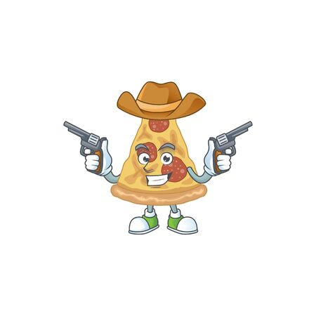 A masculine cowboy cartoon drawing of slice of pizza holding guns. Vector illustration