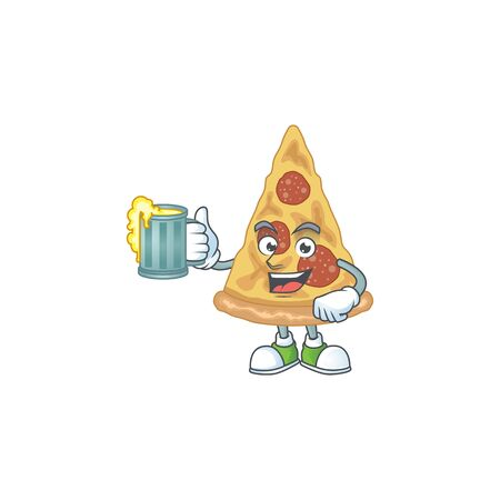 A cheerful slice of pizza cartoon mascot style toast with a glass of beer. Vector illustration