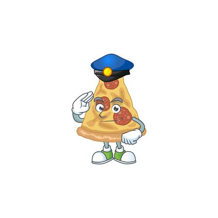 A dedicated Police officer of slice of pizza cartoon drawing concept. Vector illustration