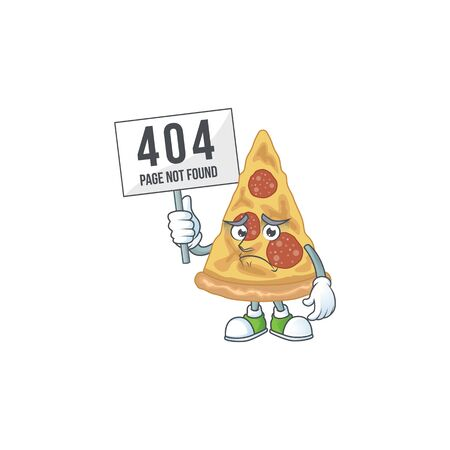 gloomy face of slice of pizza cartoon character with 404 boards. Vector illustration
