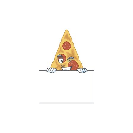 Mascot design style of slice of pizza standing behind a board. Vector illustration