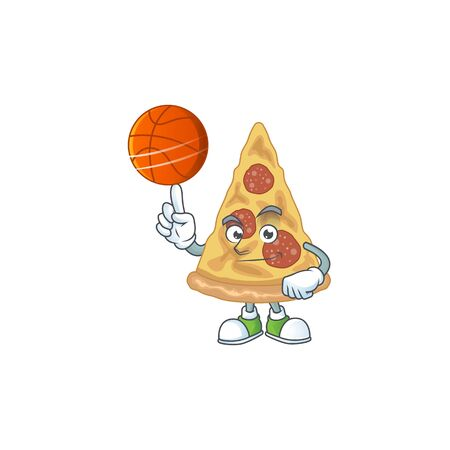 An sporty slice of pizza mascot design style playing basketball on league. Vector illustration