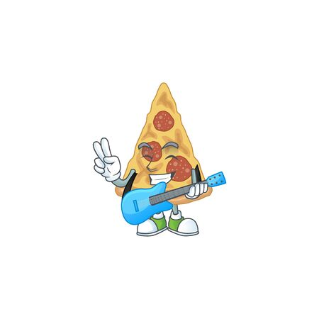 Slice of pizza cartoon character style plays music with a guitar. Vector illustration