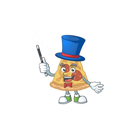 Talented slice of pizza Magician cartoon mascot design style. Vector illustration