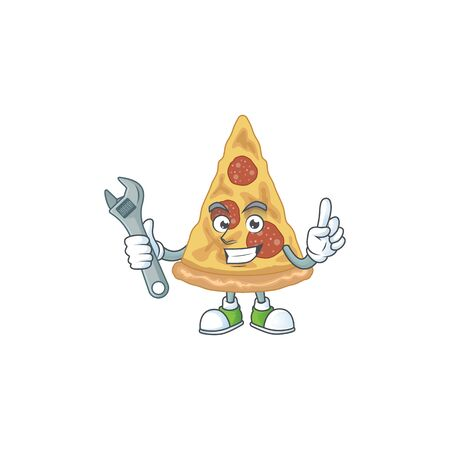 A smart mechanic slice of pizza cartoon mascot design fix a broken machine. Vector illustration