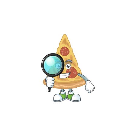 cartoon drawing concept of slice of pizza working as a Private Detective. Vector illustration Çizim