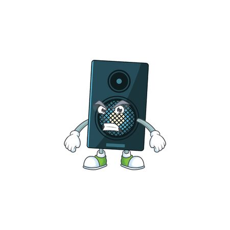 cartoon drawing of sound system showing angry face. Vector illustration