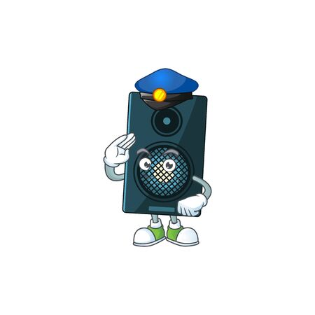 A dedicated Police officer of sound system cartoon drawing concept. Vector illustration